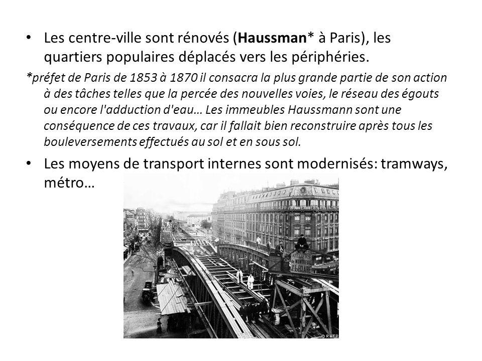 Les centre-ville sont rénovés (Haussman* à Paris), les quartiers populaires déplacés vers les périphéries.