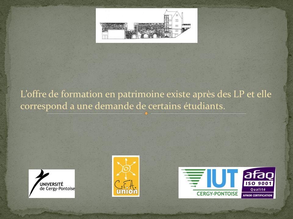 Loffre de formation en patrimoine existe après des LP et elle correspond a une demande de certains étudiants.
