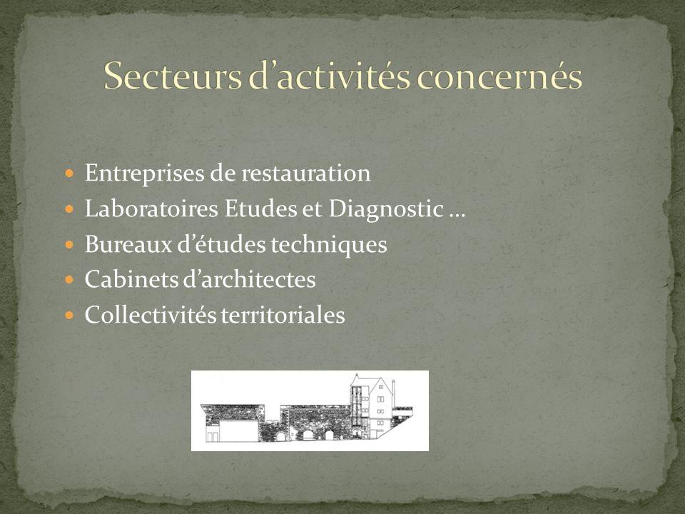 Entreprises de restauration Laboratoires Etudes et Diagnostic … Bureaux détudes techniques Cabinets darchitectes Collectivités territoriales