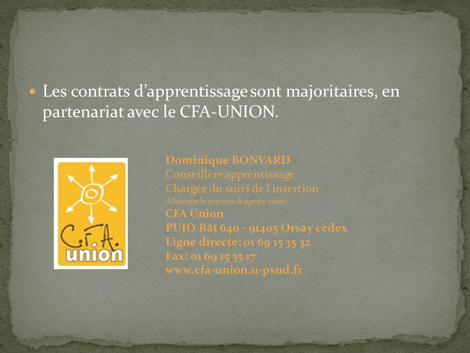Les contrats dapprentissage sont majoritaires, en partenariat avec le CFA-UNION.