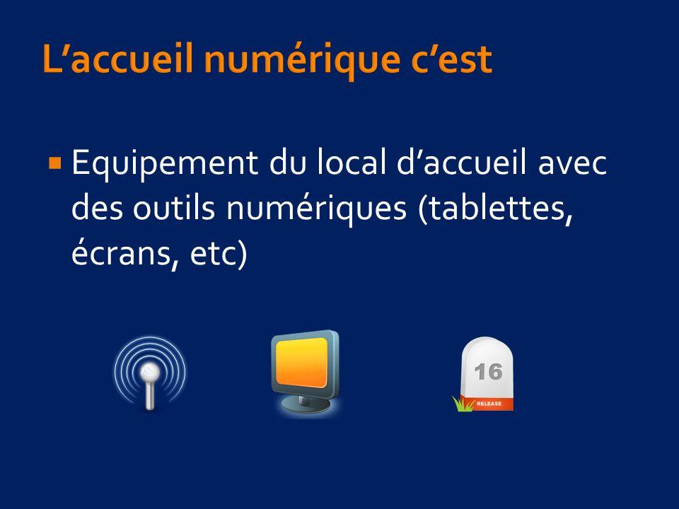 Equipement du local daccueil avec des outils numériques (tablettes, écrans, etc)
