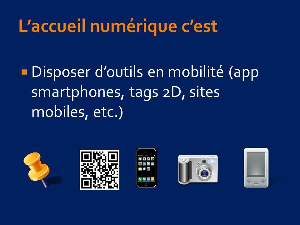 Disposer doutils en mobilité (app smartphones, tags 2D, sites mobiles, etc.)