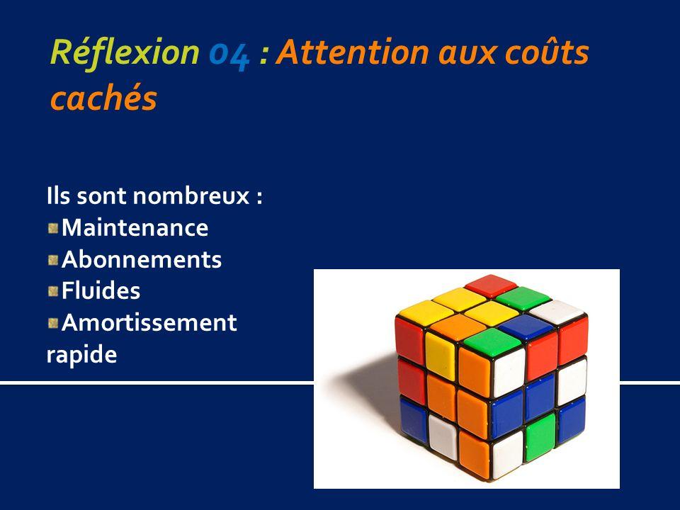 Réflexion 04 : Attention aux coûts cachés Ils sont nombreux : Maintenance Abonnements Fluides Amortissement rapide