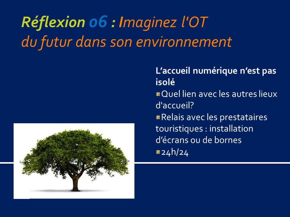 Réflexion 06 : Imaginez l OT du futur dans son environnement Laccueil numérique nest pas isolé Quel lien avec les autres lieux d accueil.