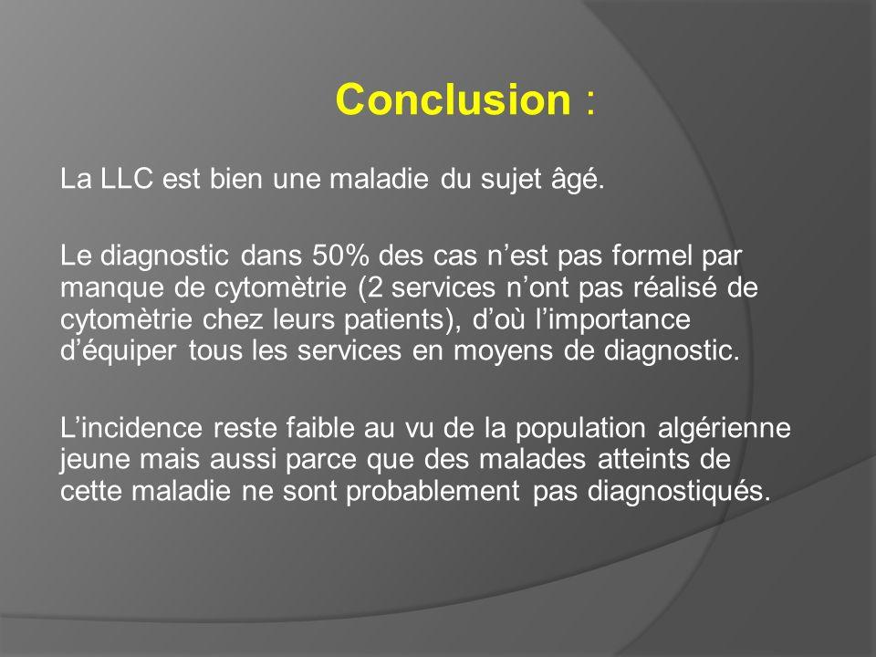 Conclusion : La LLC est bien une maladie du sujet âgé. Le diagnostic dans 50% des cas nest pas formel par manque de cytomètrie (2 services nont pas ré