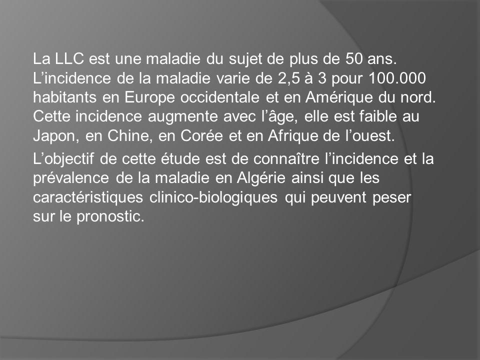 La LLC est une maladie du sujet de plus de 50 ans. Lincidence de la maladie varie de 2,5 à 3 pour 100.000 habitants en Europe occidentale et en Amériq