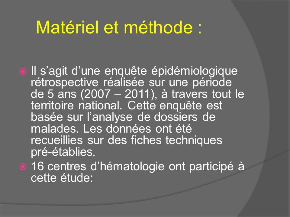 Matériel et méthode : Il sagit dune enquête épidémiologique rétrospective réalisée sur une période de 5 ans (2007 – 2011), à travers tout le territoir