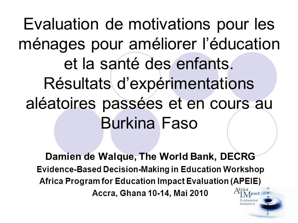 2 programmes différents, 2 évaluations dimpact différentes Programmes dalimentation scolaire: cantines scolaires comparées aux rations sèches à emporter dans la région du Sahel.