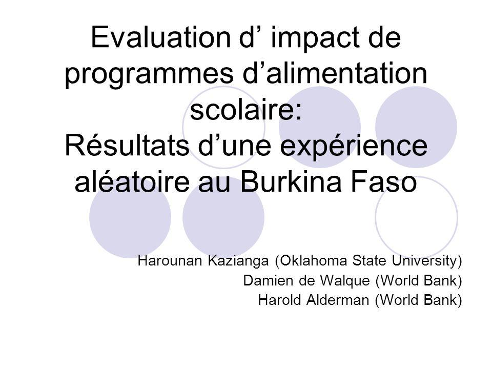 Résumé de lévaluation dimpact Evaluation de deux programmes dalimentation scolaires dans la région du Sahel au Burkina Faso.