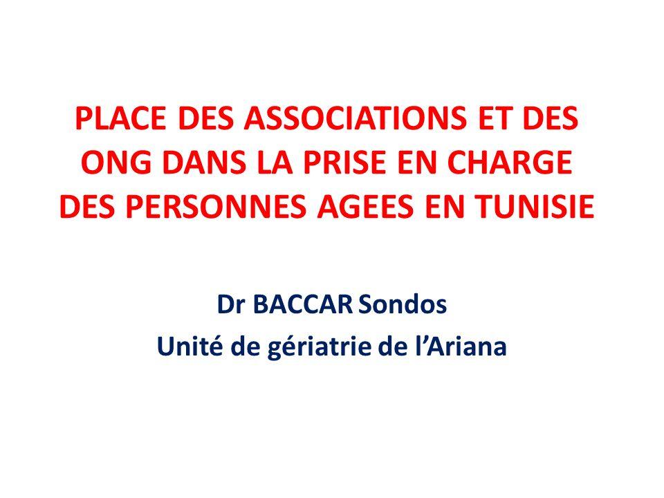 PLACE DES ASSOCIATIONS ET DES ONG DANS LA PRISE EN CHARGE DES PERSONNES AGEES EN TUNISIE Dr BACCAR Sondos Unité de gériatrie de lAriana