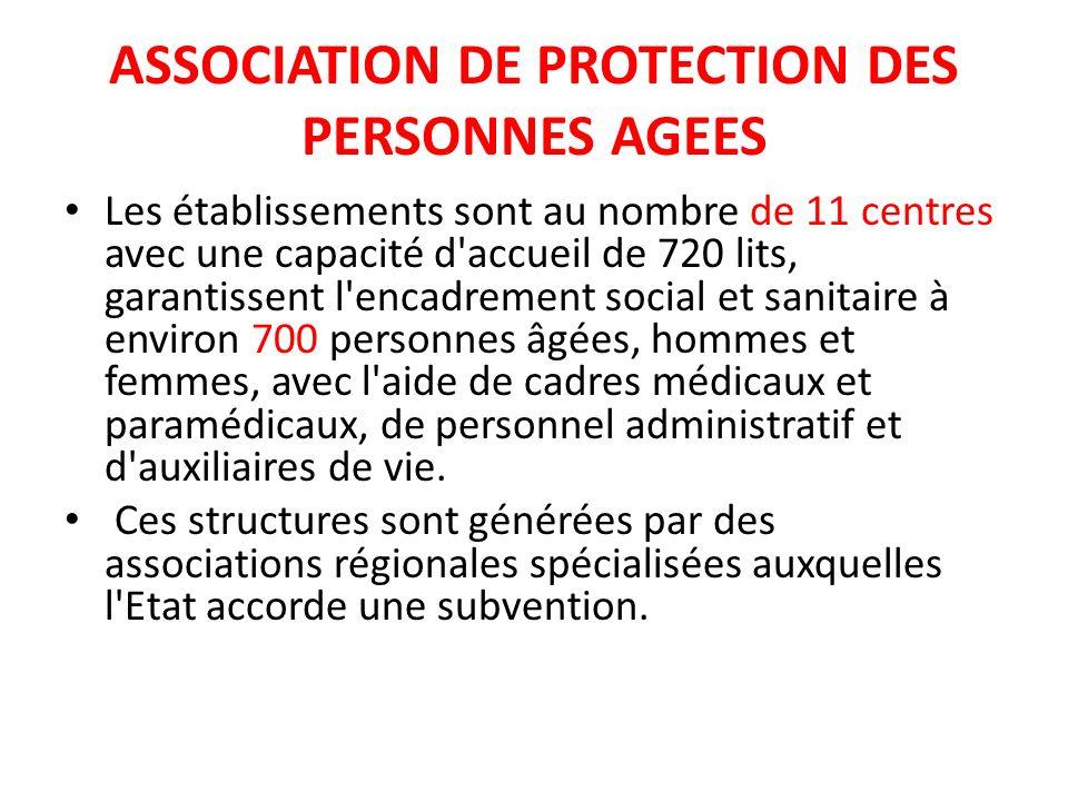 ASSOCIATION DE PROTECTION DES PERSONNES AGEES Les établissements sont au nombre de 11 centres avec une capacité d'accueil de 720 lits, garantissent l'