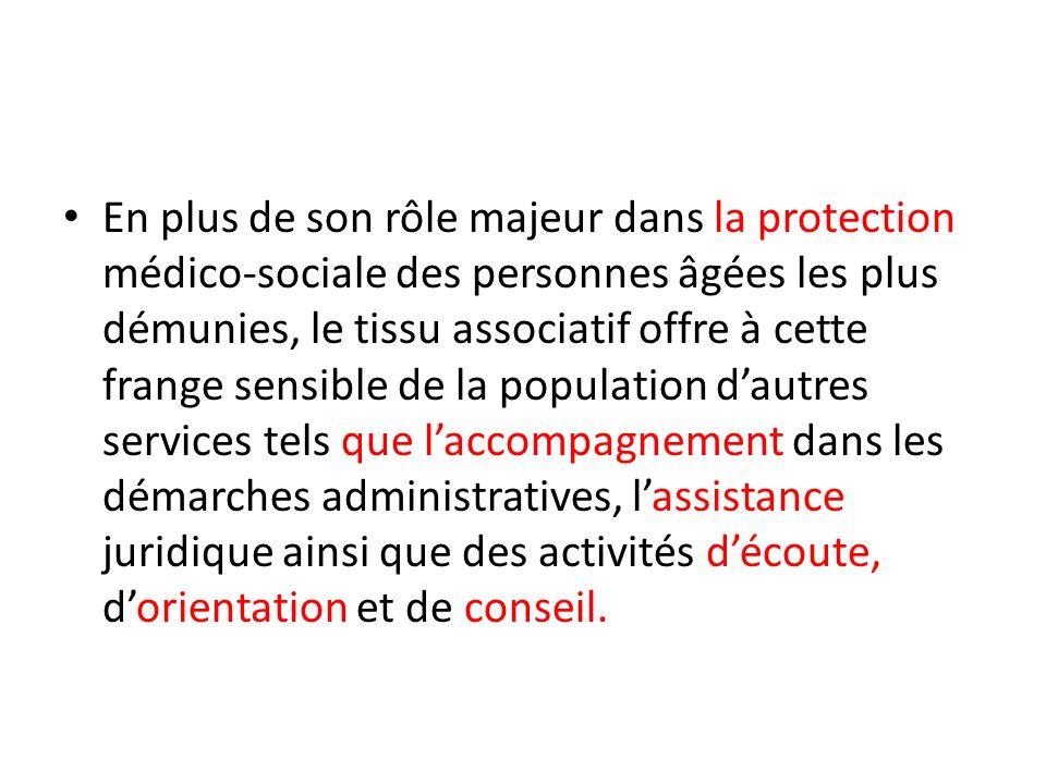 COMPOSANTES DU TISSU ASSOCIATIF Laction du tissu associatif tunisien sarticule essentiellement autour des Associations Régionales de Protection des Personnes Agées qui jouent un rôle fondamental dans la prise en charge médico-sociale à domicile de cette frange de la population.