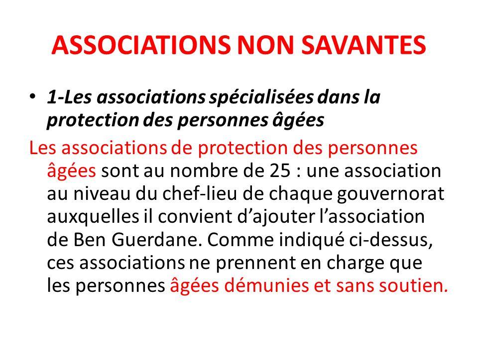 ASSOCIATIONS NON SAVANTES 1-Les associations spécialisées dans la protection des personnes âgées Les associations de protection des personnes âgées so