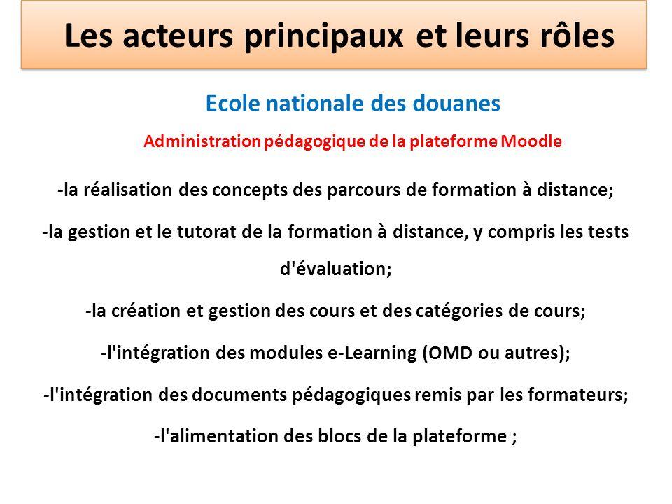 Ecole nationale des douanes Administration pédagogique de la plateforme Moodle -la réalisation des concepts des parcours de formation à distance; -la