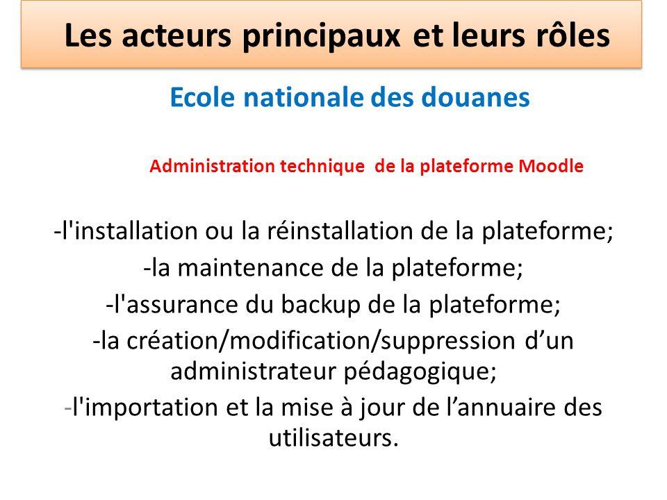 Ecole nationale des douanes Administration technique de la plateforme Moodle -l'installation ou la réinstallation de la plateforme; -la maintenance de