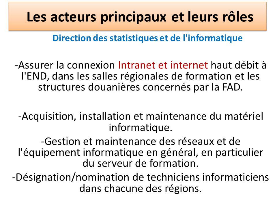 Direction des statistiques et de l'informatique -Assurer la connexion Intranet et internet haut débit à l'END, dans les salles régionales de formation