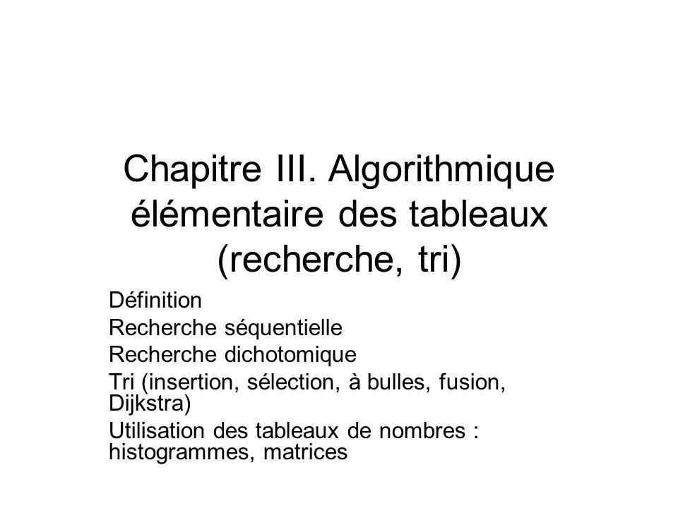 Chapitre III. Algorithmique élémentaire des tableaux (recherche, tri) Définition Recherche séquentielle Recherche dichotomique Tri (insertion, sélecti