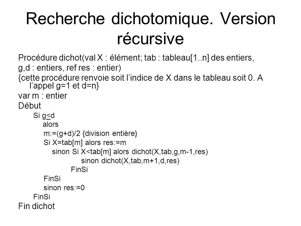 Recherche dichotomique. Version récursive Procédure dichot(val X : élément; tab : tableau[1..n] des entiers, g,d : entiers, ref res : entier) {cette p