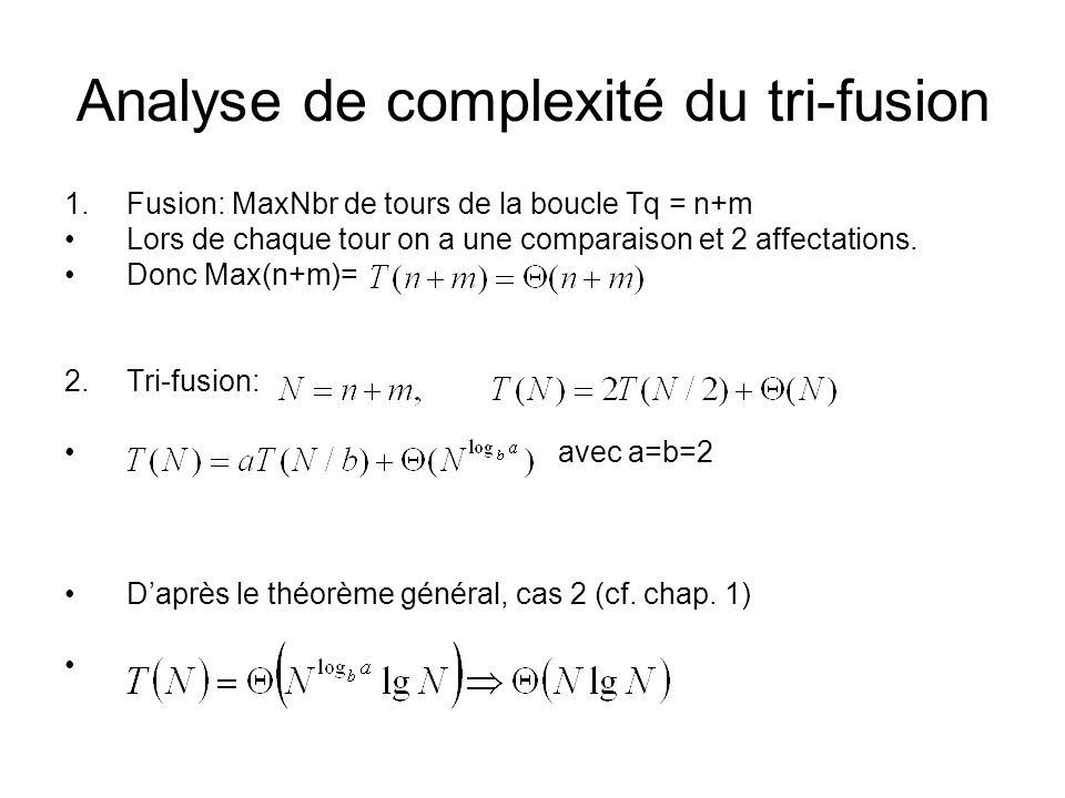 Analyse de complexité du tri-fusion 1.Fusion: MaxNbr de tours de la boucle Tq = n+m Lors de chaque tour on a une comparaison et 2 affectations. Donc M