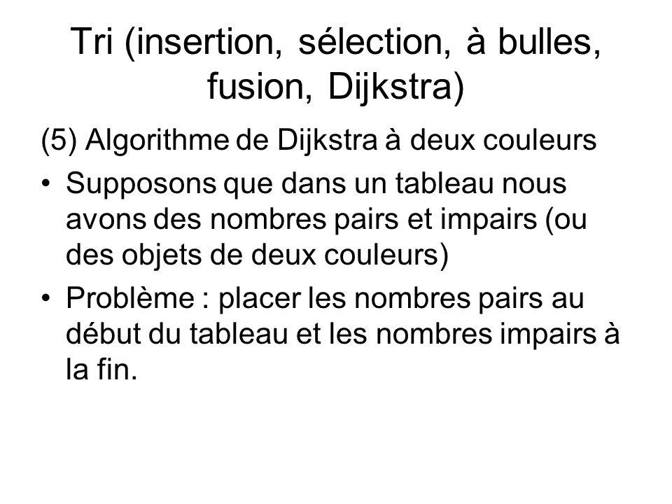 Tri (insertion, sélection, à bulles, fusion, Dijkstra) (5) Algorithme de Dijkstra à deux couleurs Supposons que dans un tableau nous avons des nombres