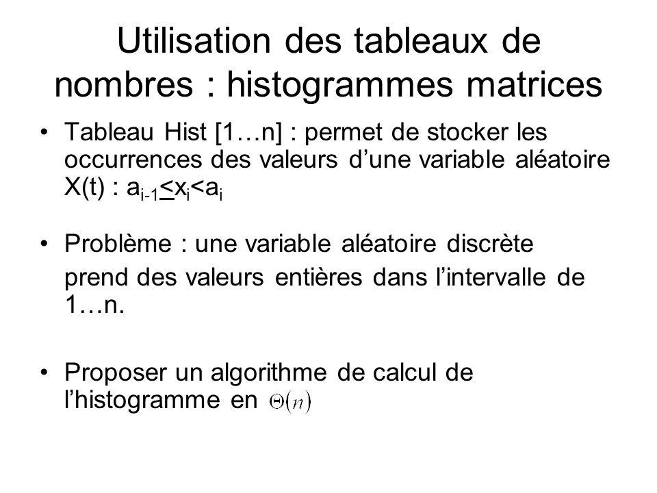 Utilisation des tableaux de nombres : histogrammes matrices Tableau Hist [1…n] : permet de stocker les occurrences des valeurs dune variable aléatoire
