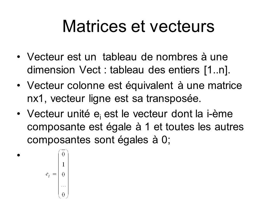 Matrices et vecteurs Vecteur est un tableau de nombres à une dimension Vect : tableau des entiers [1..n]. Vecteur colonne est équivalent à une matrice