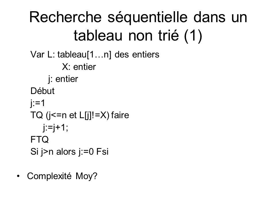 Tri par sélection avec recherche séquentielle du minimum (2) Version récursive Procédure tri-select(ref tab: tableau [1..n] des entiers, val i : entier) { appel avec i=1} Var i,j,k : entiers Début Si i<n alors {recherche séquentielle du minimum} Pour k:=i+1 à n faire {boucle de recherche de min } Si tab[k]<tab[j] j:=k; FinSi échanger(tab[j], tab[i]); {tri de la fin du tableau} Tri-select(tab, i+1) Fin tri-select