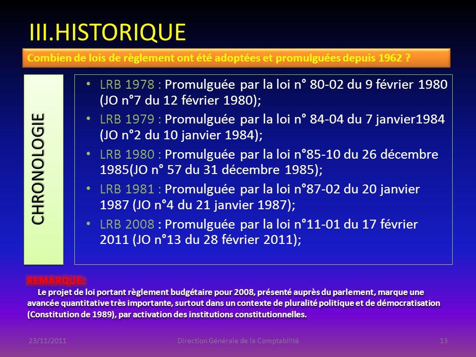 III.HISTORIQUE CHRONOLOGIECHRONOLOGIE LRB 1978 : Promulguée par la loi n° 80-02 du 9 février 1980 (JO n°7 du 12 février 1980); LRB 1979 : Promulguée p