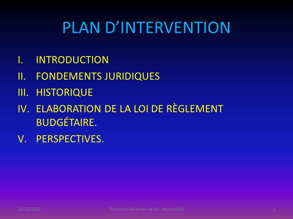 PLAN DINTERVENTION I.INTRODUCTION II.FONDEMENTS JURIDIQUES III.HISTORIQUE IV.ELABORATION DE LA LOI DE RÈGLEMENT BUDGÉTAIRE. V.PERSPECTIVES. 23/11/2011