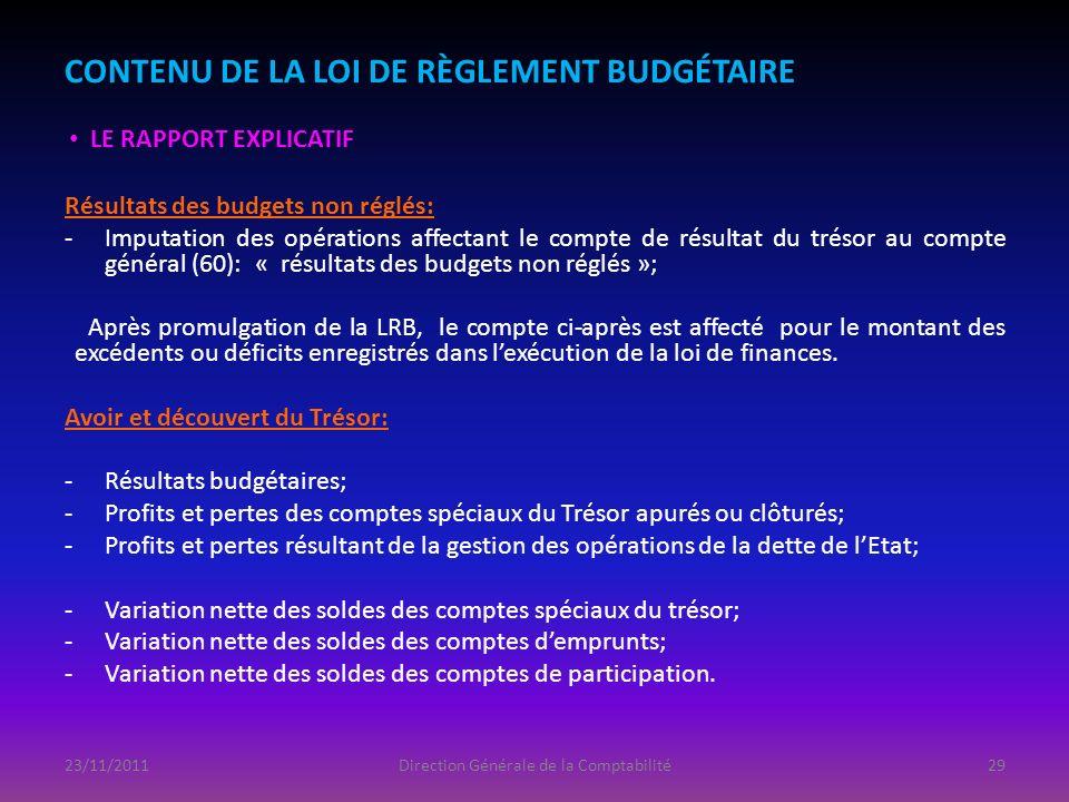 Résultats des budgets non réglés: -Imputation des opérations affectant le compte de résultat du trésor au compte général (60): « résultats des budgets