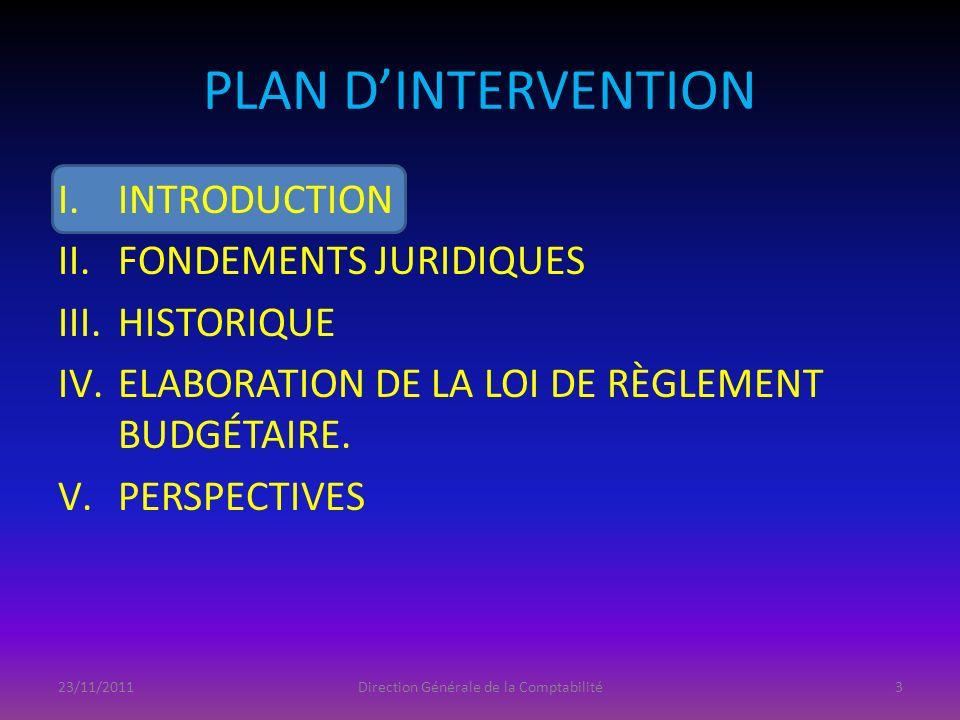 PLAN DINTERVENTION I.INTRODUCTION II.FONDEMENTS JURIDIQUES III.HISTORIQUE IV.ELABORATION DE LA LOI DE RÈGLEMENT BUDGÉTAIRE. V.PERSPECTIVES 23/11/2011D
