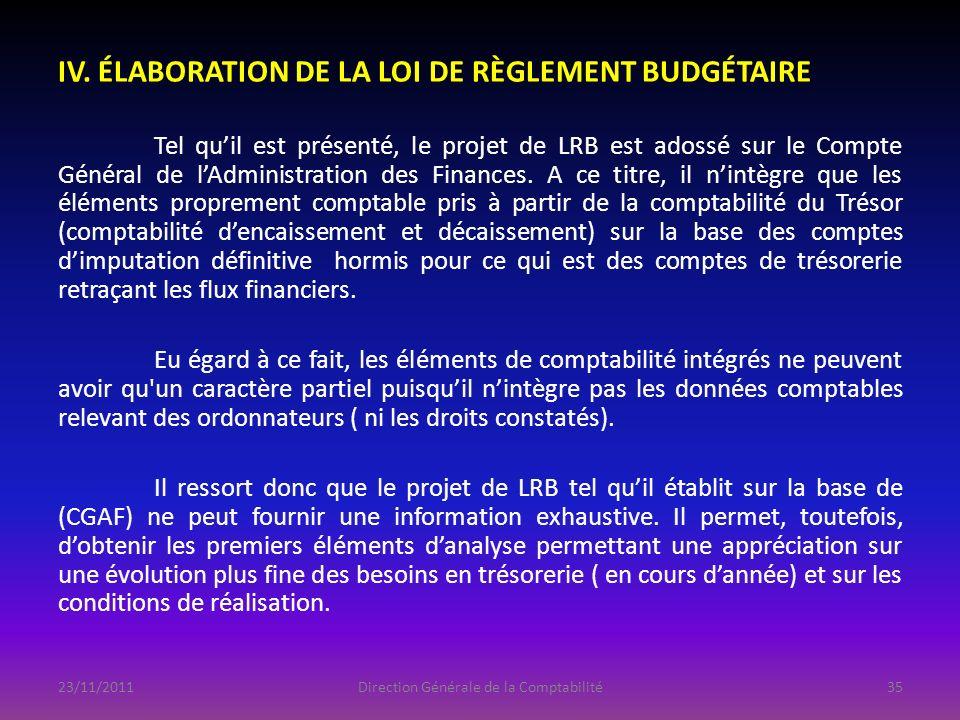 IV. ÉLABORATION DE LA LOI DE RÈGLEMENT BUDGÉTAIRE Tel quil est présenté, le projet de LRB est adossé sur le Compte Général de lAdministration des Fina