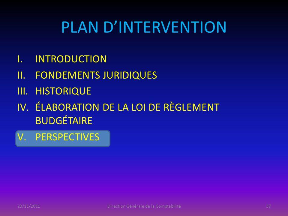 PLAN DINTERVENTION I.INTRODUCTION II.FONDEMENTS JURIDIQUES III.HISTORIQUE IV.ÉLABORATION DE LA LOI DE RÈGLEMENT BUDGÉTAIRE V.PERSPECTIVES 23/11/2011Di