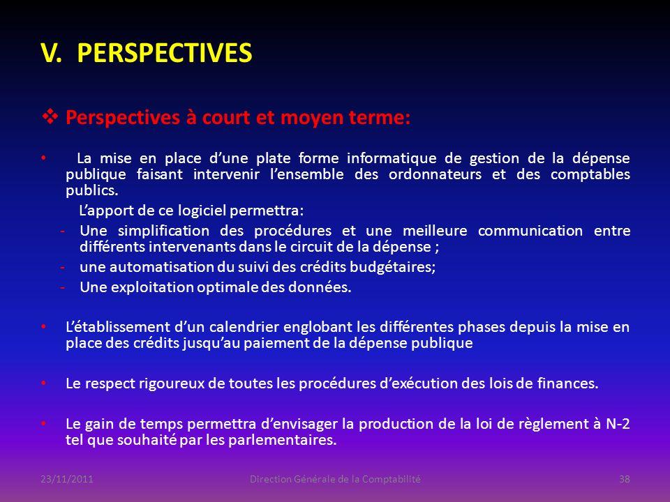 V. PERSPECTIVES Perspectives à court et moyen terme: La mise en place dune plate forme informatique de gestion de la dépense publique faisant interven