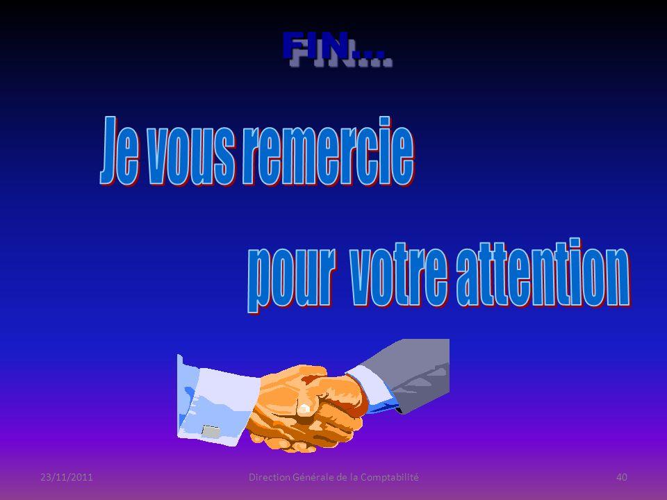 23/11/2011Direction Générale de la Comptabilité40 FIN…FIN…