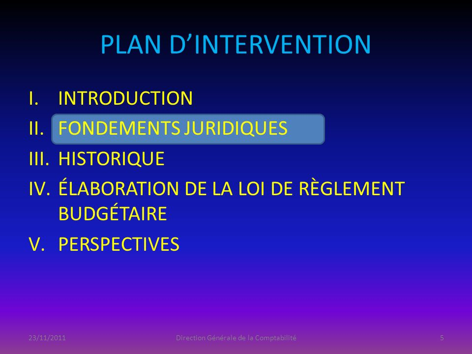 II.FONDEMENTS JURIDIQUES « Le Gouvernement rend compte, à chaque chambre du parlement, de lutilisation des crédits budgétaires quelle lui a votés pour chaque exercice budgétaire.