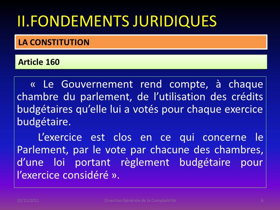 PLAN DINTERVENTION I.INTRODUCTION II.FONDEMENTS JURIDIQUES III.HISTORIQUE IV.ÉLABORATION DE LA LOI DE RÈGLEMENT BUDGÉTAIRE V.PERSPECTIVES 23/11/2011Direction Générale de la Comptabilité37