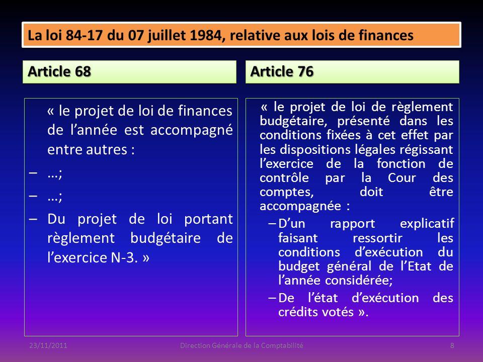 La Direction Générale du Budget: -Les crédits votés, les crédits révisés (LFI et la LFC) et les décrets de transferts de crédits avec leurs exposés des motifs (Équipement et Fonctionnement); -Les actions financées par laccroissement de crédits entre la LFI et la LFC( É et F); -Les montants de crédits notifiés aux ordonnateurs (Équip ); -Les montants des AP votées, révisées et les décrets de transferts avec leurs exposées des motifs (LFI et LFC); -La liste des actions financées par laccroissement des AP entre la LFI et la LFC soit au titre du programme neuf ou de réévaluation.
