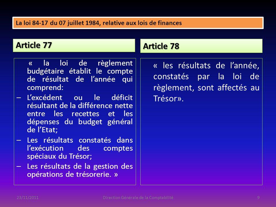 Article 77 « la loi de règlement budgétaire établit le compte de résultat de lannée qui comprend: –Lexcédent ou le déficit résultant de la différence