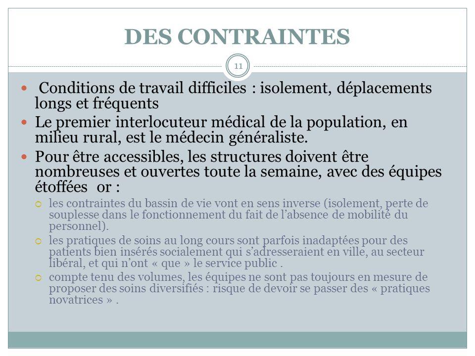 DES CONTRAINTES Conditions de travail difficiles : isolement, déplacements longs et fréquents Le premier interlocuteur médical de la population, en mi