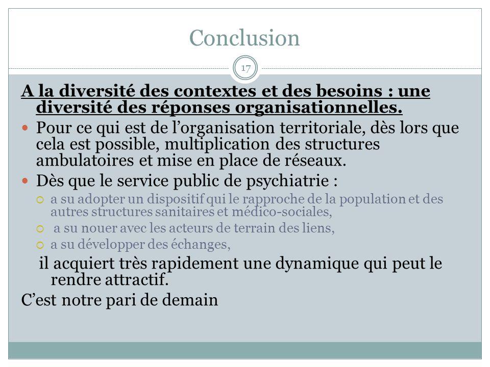 Conclusion A la diversité des contextes et des besoins : une diversité des réponses organisationnelles.
