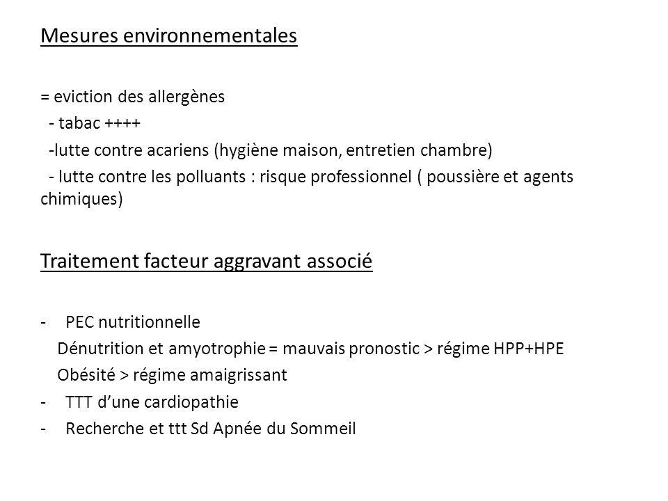 Mesures environnementales = eviction des allergènes - tabac ++++ -lutte contre acariens (hygiène maison, entretien chambre) - lutte contre les polluants : risque professionnel ( poussière et agents chimiques) Traitement facteur aggravant associé -PEC nutritionnelle Dénutrition et amyotrophie = mauvais pronostic > régime HPP+HPE Obésité > régime amaigrissant -TTT dune cardiopathie -Recherche et ttt Sd Apnée du Sommeil