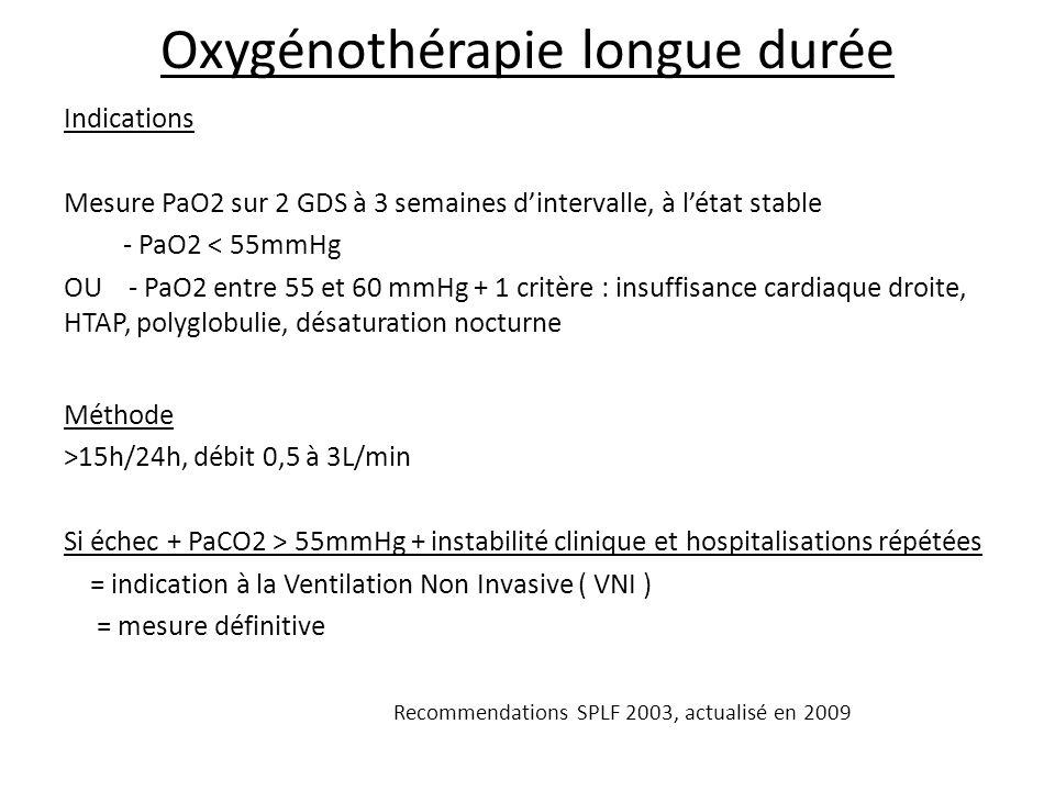 Oxygénothérapie longue durée Indications Mesure PaO2 sur 2 GDS à 3 semaines dintervalle, à létat stable - PaO2 < 55mmHg OU - PaO2 entre 55 et 60 mmHg + 1 critère : insuffisance cardiaque droite, HTAP, polyglobulie, désaturation nocturne Méthode >15h/24h, débit 0,5 à 3L/min Si échec + PaCO2 > 55mmHg + instabilité clinique et hospitalisations répétées = indication à la Ventilation Non Invasive ( VNI ) = mesure définitive Recommendations SPLF 2003, actualisé en 2009