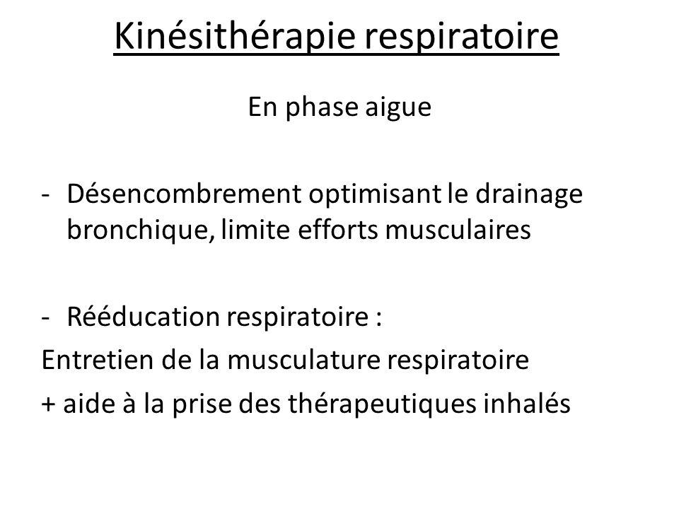 Kinésithérapie respiratoire En phase aigue -Désencombrement optimisant le drainage bronchique, limite efforts musculaires -Rééducation respiratoire : Entretien de la musculature respiratoire + aide à la prise des thérapeutiques inhalés