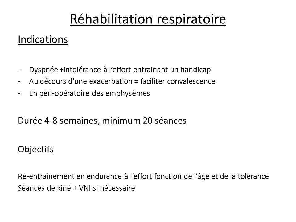 Réhabilitation respiratoire Indications -Dyspnée +intolérance à leffort entrainant un handicap -Au décours dune exacerbation = faciliter convalescence -En péri-opératoire des emphysèmes Durée 4-8 semaines, minimum 20 séances Objectifs Ré-entraînement en endurance à leffort fonction de lâge et de la tolérance Séances de kiné + VNI si nécessaire
