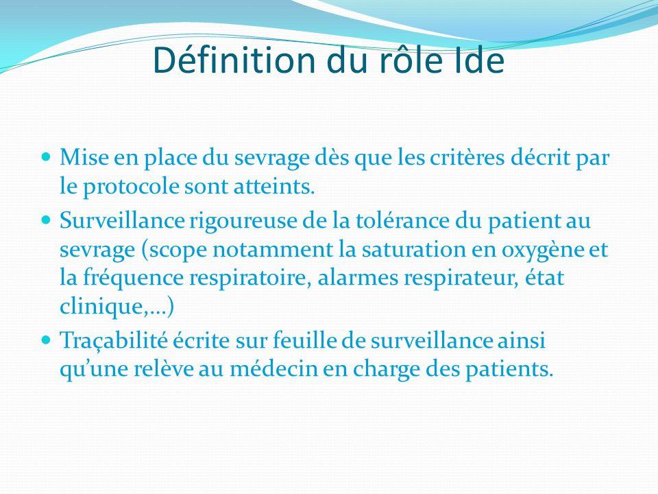 Définition du rôle Ide Mise en place du sevrage dès que les critères décrit par le protocole sont atteints. Surveillance rigoureuse de la tolérance du
