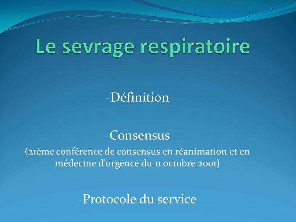 - Définition - Consensus (21ème conférence de consensus en réanimation et en médecine durgence du 11 octobre 2001) - Protocole du service