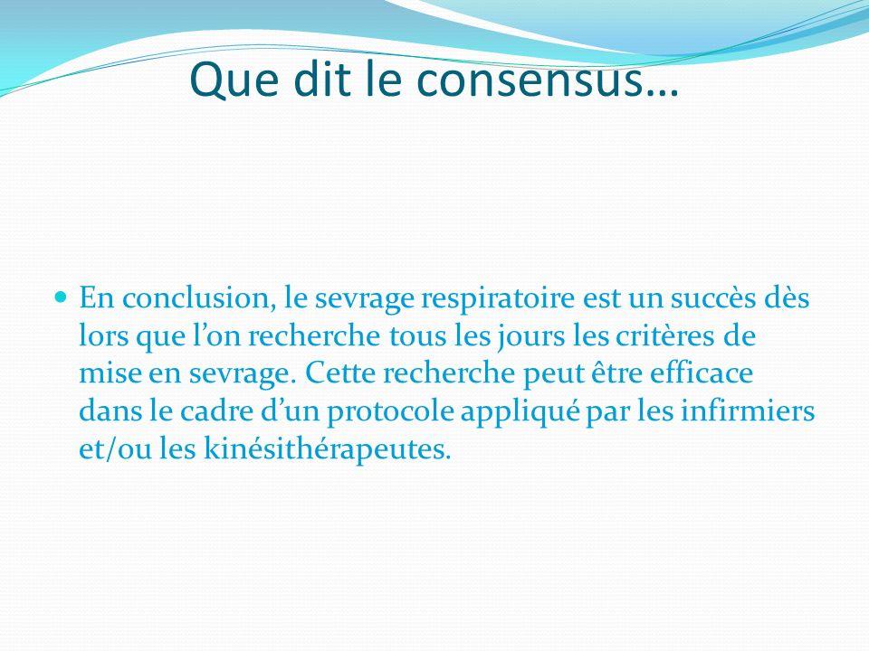 Que dit le consensus… En conclusion, le sevrage respiratoire est un succès dès lors que lon recherche tous les jours les critères de mise en sevrage.