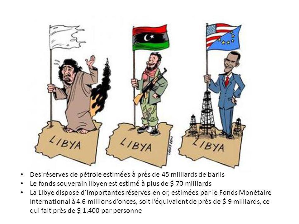 Des réserves de pétrole estimées à près de 45 milliards de barils Le fonds souverain libyen est estimé à plus de $ 70 milliards La Libye dispose dimportantes réserves en or, estimées par le Fonds Monétaire International à 4.6 millions donces, soit léquivalent de près de $ 9 milliards, ce qui fait près de $ 1.400 par personne