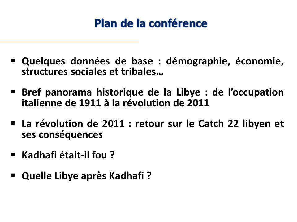 Quelques données de base : démographie, économie, structures sociales et tribales… Bref panorama historique de la Libye : de loccupation italienne de 1911 à la révolution de 2011 La révolution de 2011 : retour sur le Catch 22 libyen et ses conséquences Kadhafi était-il fou .